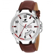 Espoir Analogue White Dial Day and Date Men's Boy's Watch - WhiteBrockDex0507