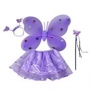 BESTOYARD Girls Butterfly Princess Fairy Costume Set with Tutu Dress, Wings, Wand and Headband Kids Party Fancy Dress up