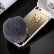 Apple Voor iPhone Case 8 & 7 Electroplating spiegel TPU beschermhoes met harige bal keten Pendant(Gold)