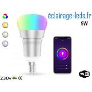 Ampoule LED E14 Smart Wifi dimmable 9w Blanc & Couleurs ref dm-27