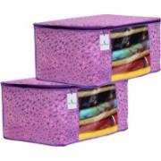 Kuber Industries Designer Metalic Flower Design 2 Piece Non Woven Saree Cover, Large (Pink & Purple) CTLTC034540(Pink & Purple)