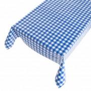 Merkloos Blauw/wit tuin tafellaken voor buiten boerenruiten 140 x 245 cm PVC/kunststof