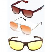 Magjons Brown Wayfarer Orange Colour Aviator Sunglasses Combo Yellow Driving Goggale Set of 3 With box MJK016