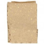 Merkloos Kerst tafelkleed goud met sterren motief 140 x 230 cm - Tafellakens