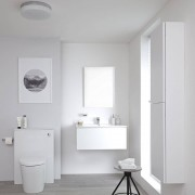 HudsonReed Meuble Lavabo Newington 80cm Blanc Mat - Pack WC & Miroir