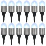 vidaXL Solárne pozemné svietidlá 12 ks biele LED svetlo