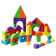 Premium 48Pcs Colorful Soft Foam Building Blocks Bricks Set Children Kids Play Toys