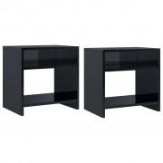 vidaXL Нощни шкафчета, 2 бр, черни със силен гланц, 40x30x40 см, ПДЧ
