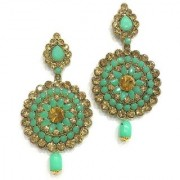 Digital Dress Women's Oxidized Earrings Indian Traditional Light Weight Green and Champagne Colored Bead Work with Gold Stone Long Drop Dangle Earring for Women & Girls Fashion Imitation Jewellery