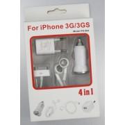 4in1 casti hands free si incarcator usb auto priza 220v pentru iphone 3g 3gs 4g