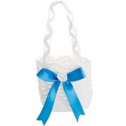 Tasje ivoor met blauwe strik