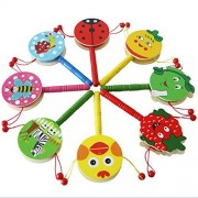 Toys & Gifts - Baby Shaking Rattle Cartoon Wooden Hand Bell Drum Kids Baby Toy - Baby Rattle Drum Shaking Toys Year Boys Hammer Drums Instruments Wooden - For 1 Old - 1PCs