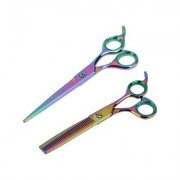 "Sharf Gold Touch Rainbow 7.5"""" Straight & 6.5"""" Thinning Scissors Pet Grooming Shear Kit"