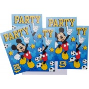 Uitnodigingen Disney Mickey voetbal 5 stuks