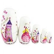 Winterworm Set of 5 Cutie Lovely Pink Princess Castle Nesting Dolls Matryoshka Madness Russian Doll Popular Handmade Kids Girl Gifts Toy
