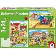 Puzzle 3 in 1 - Viata la ferma, 72 piese
