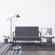 vidaXL Canapea cu 2 locuri și brațe, gri închis, oțel și material textil