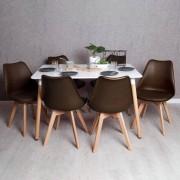 Conjunto Mesa Tower Retangular 120 x 80 cm Branca e Pack 6 Cadeiras Synk Basic - Marrom