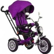 Tricicleta cu scaun reversibil Still 6-36 luni cu pozitie de somn roata cauciuc far luminos si panou muzical mov