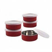 Rident Kitchen Stainless Steel Microwave Safe Bowl with LID (RED Color 300 ml)-Set of 5