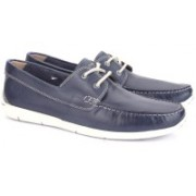 Clarks Karlock Step Navy Leather Boat Shoes For Men(Grey)