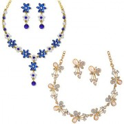 Om Jewells Gold Plated Combo of 2 Flower and butterfly love Crystal Necklace set for girls and women CO1000121
