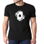 HEYUZE Ace Playing Cards Black Printed Men T-Shirts