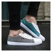 Zapatos De Lona De Hombres Con Cordónes De Color Diferentes De Dos Zapatos De Ocio -Gris Y Verde