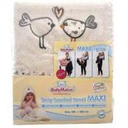 Детска хавлия с качулка Maxi Plus Birds, 0216 екрю 02, Baby Matex, 5902675038607