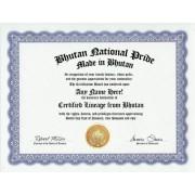 Bhutan Bhutanese National Pride Certification: Custom Gag Nationality Family History Genealogy Certificate (Funny Customized Joke Gift - Novelty Item)