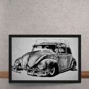 Quadro Decorativo Carro Volkswagen Fusca Ilustracao 25x35