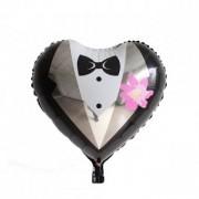 Balon folie inima mire floare 45cm