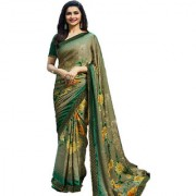 Indian Style Sarees New Arrivals Women's Green Georgette Printed Party Saree With Blouse Bollywood Latest Designer Saree