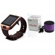 Zemini DZ09 Smartwatch and S10 Bluetooth Speaker for SAMSUNG GALAXY CORE PRIME (DZ09 Smart Watch With 4G Sim Card Memory Card| S10 Bluetooth Speaker)