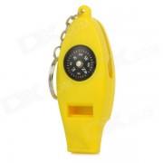 Silbato multifuncion con Analog Compass + Termometro + Llavero plegable Magnifier + Keyring - Amarillo