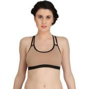 Fashion Comfortz Women's Cotton Lycra Plain Brown Sports Bra