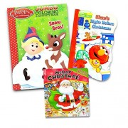 Christmas Coloring and Activity Books Set for Kids Toddlers (Rudolph the Red-Nosed Reindeer Coloring Book, Sesame Street Board Book, Santa Look and Find Book)