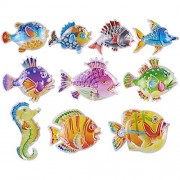 Greatlove 10Pcs Colorful Large Tropical Fish Magnetic Floating Fishing Toy 6.5-8.5Cm Bath Toys For Kids Durable Plastic Fishes
