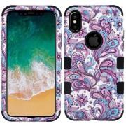 Funda Case Iphone Xs / X Tuff De Uso Rudo - Flores Moradas