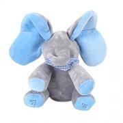 Elephant Plush Toy Animated Flappy Ears Animal Singing Songs Music Elephant Stuffed Baby Kids Doll Gift (Blue)