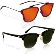 Knotyy Retro Square, Clubmaster Sunglasses(Orange, Green)