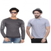 Kundan Exclusive Men's 100% Pure-Cotton Round Neck Full Sleeves Slim Fit & Polo Neck Plain T Shirt ( Pack of 2 T Shirt for Men )