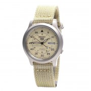 Seiko 5 Men's Beige Fabric Band Military Dial Automatic Watch - SNK803K2