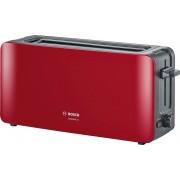 Prajitor de paine Bosch ComfortLine TAT6A004, 1090 W, fanta lunga, 2 felii, reglaj electronic, suport chifle integrat, Rosu/gri
