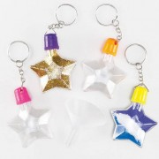 Star Sand Art Keyrings - 5 Star Shaped Sand Art Bottles to Use as Keyrings. Funnel included. Star size: 6cm. Sand not included.