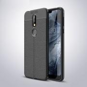 Litchi Texture TPU caso para Nokia 7.1 antichoque (negro)