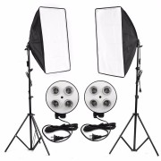 Photo Video Studio Lighting Kit 4-Socket E27 Lamp Holder Softbox Light Stands