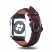 Bi-color Top Layer Cowhide Leather Watch Band for Apple Watch Series 5 4 44mm / Seires 3/2/1 42mm - Wine Red / Coffee