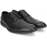 Clarks Prangley Limit Black leather Lace Up For Men(Black)