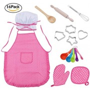 Messar Chef Set for Kids, Cook Costume Cooking Play Set with Apron, Chef Hat, and Other Accessories for Boys Girls Career Role Play Children Pretend Play Great Gift - 16 Pcs (Pink 1)